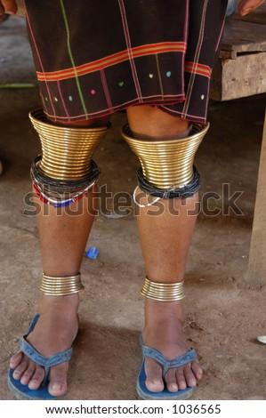 "Leg Ornamentation of a ""Big Ear"" Tribes Woman - Thailand - stock photo"