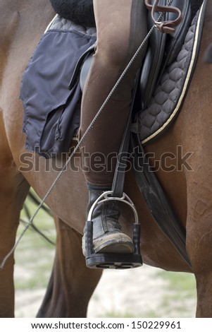 Leg rider in the stirrups. - stock photo