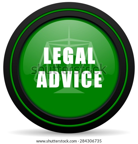 legal advice green icon law sign - stock photo