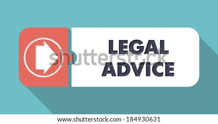Legal Advice on Blue in Flat Design with Long Shadows. - stock photo