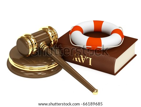Legal aid. Hammer, book and lifebuoy - stock photo