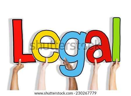 Legal Allowed Rightful Approve Lawful Hands Up Hold Concept - stock photo