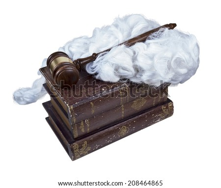 Legal Books with Judge Wig and Wooden Gavel - Path included - stock photo