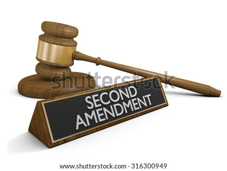 Legal challenge to the Second Amendment right to keep and bear arms - stock photo