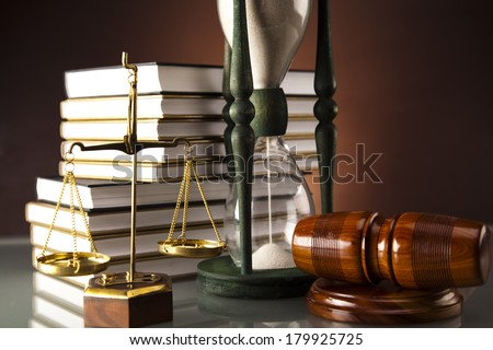 Legal code and scale of justice, Law, Statue of Lady Justice  - stock photo