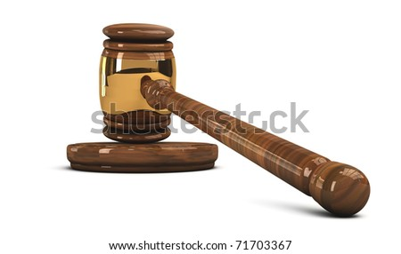 Legal concept of judge's wooden gavel isolated on white background - stock photo