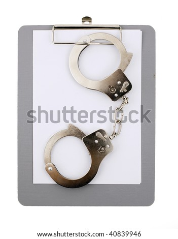 Legal concept with handcuff and empty clipboard