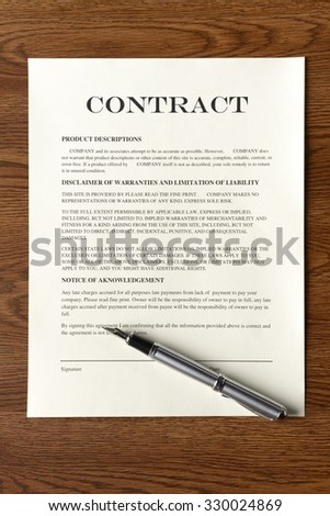 Legal Contract/Agreement with Fountain Pen - stock photo