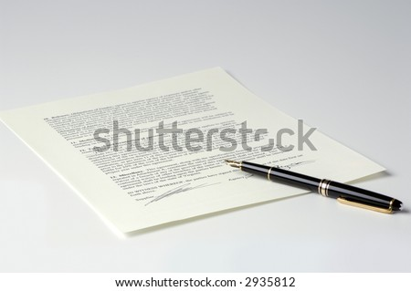 Legal Contract and Pen - stock photo