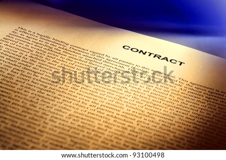 Legal contract document written in common law English (fictitious document with authentic legal language) - stock photo