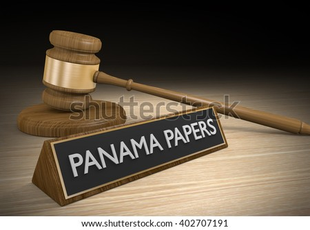 Legal controversy over leaked Panama Papers and hidden money accounts, 3D rendering