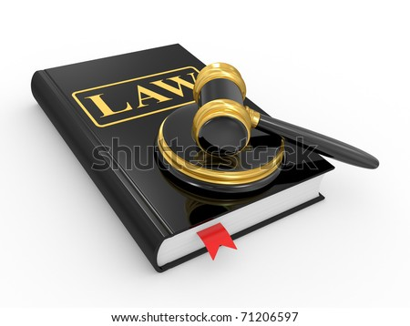 legal gavel and law book on a white background - stock photo