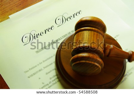 Legal gavel on top of divorce papers - stock photo