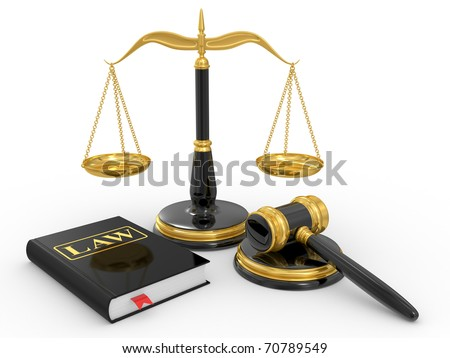 legal gavel, scales and law book on a white background - stock photo