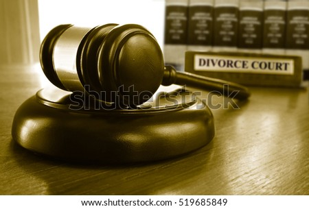 Legal gavel with Divorce Court placard, and law books