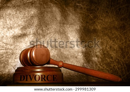 legal gavel with Divorce text over textured background - stock photo