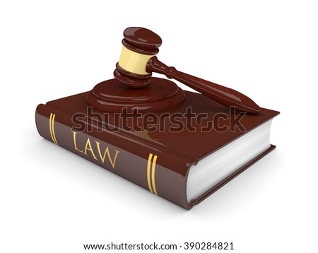 legal gavel with law book isolated on white background - stock photo