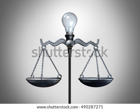 Legal idea and smart intelligent law strategy concept as a lightbulb balancing a justice scale as a bright lawyer or attorney icon for legislation or verdict success as a 3D illustration.
