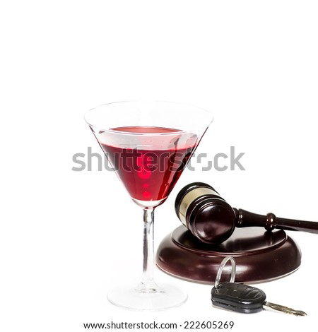 Legal law concept image - drink driving - alcohol, car keys and gavel - stock photo