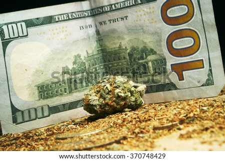 Legal Marijuana Weed Cannabis Business, Buds and a Hundred Dollar Bill  - stock photo