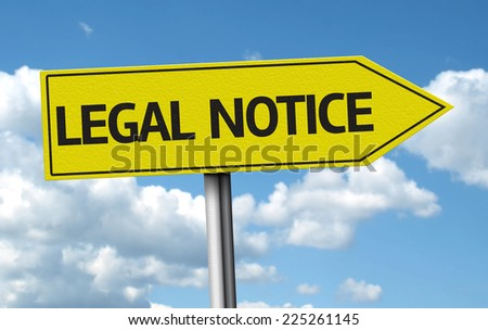 Legal Notice creative sign on blue clouds - stock photo
