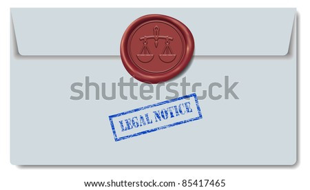 Legal Notice Envelope with Red Wax Seal - stock photo