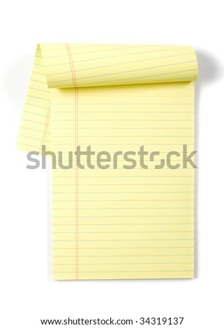 Legal Pad isolated on white in the studio - stock photo