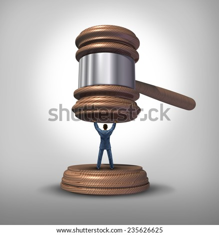 Legal protection and law advice concept as an attorney blocking a gavel or judge mallet as a symbol for lawyer services to protect a defendant or victim or legislator fighting for citizen rights. - stock photo