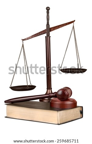 Legal, symbol, gavel. - stock photo