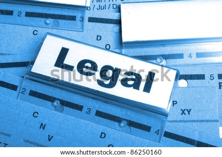 legal word on folder index showing law court or justice concept - stock photo