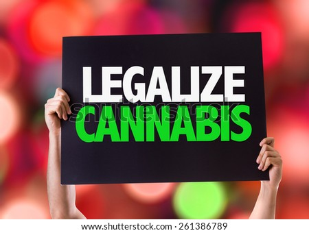 Legalize Cannabis card with bokeh background - stock photo