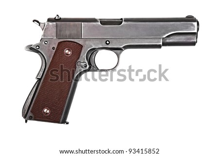 Legendary U.S. Army handgun Colt 1911A1 isolated on white background. Military model (gray color). - stock photo