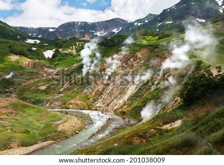 Legendary Valley of Geysers - Kamchatka, Russia - stock photo