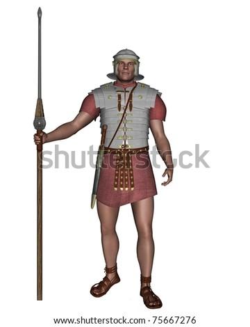 Legionary soldier of the Roman Empire wearing lorica segmentata, 3d digitally rendered illustration - stock photo