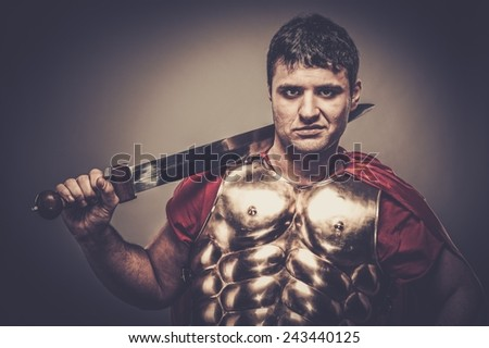 Legionary soldier with sword  - stock photo