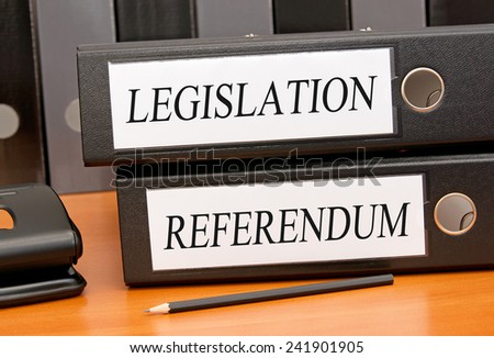 Legislation and Referendum - two binders in the office