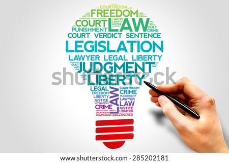 Legislation bulb word cloud concept - stock photo
