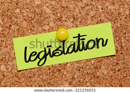 legislation word on notepaper - stock photo