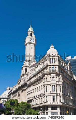 Legislatura building facade located on Julio Roca avenue at Buenos Aires, Argentina - stock photo
