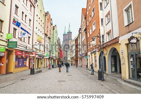 LEGNICA, POLAND - FEBRUARY 4, 2017: Downtown of Legnica