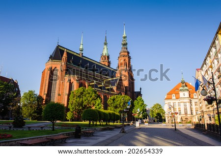 LEGNICA, POLAND - JUN 16, 2014: Saint Paul and Petr cathedral in  Legnica in Poland. Legnica is a former capital of the the Legnica Voivodeship  (1 June 1975 - 31 December 1998)