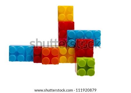 lego plastic toy blocks on white background - stock photo