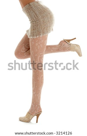 legs and back of lady in sacking skirt over white - stock photo