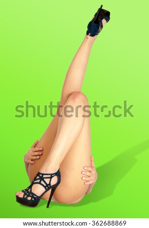 legs ass. beautiful naked woman legs, naked girl with long legs. Photo made on Chroma, convenient designers to remove the background - stock photo