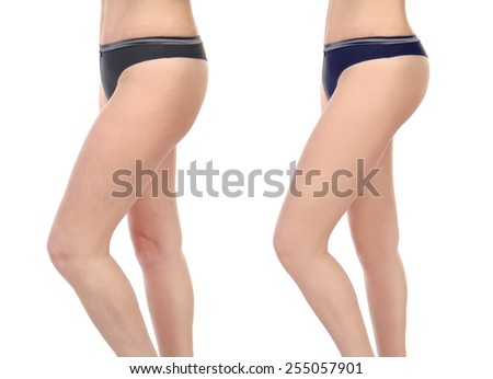 legs before and after - stock photo