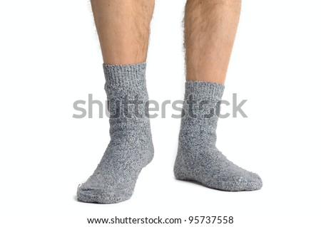 Legs from a businessman without his pants. White background - stock photo