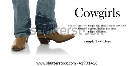 Legs in Jeans and Cowboys Boots - stock photo