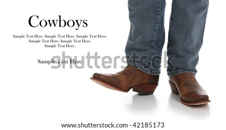 Legs in Jeans and Cowboys Boots with Text Space to the Left - stock photo