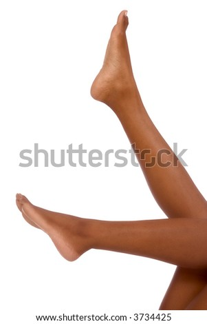 Legs of African-American female (isolated on white)
