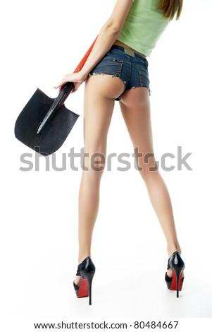 Legs of girl-builder - stock photo